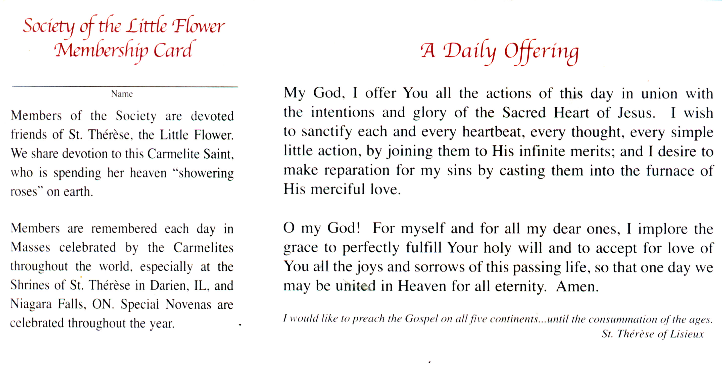 St therese nine day novena